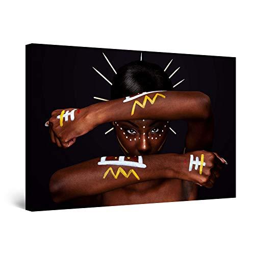 STARTONIGHT Canvas Wall Art - African Tribals, Women Framed 32 x 48 Inches