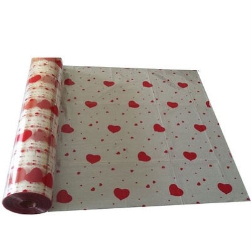 30'' X 1500' Clear Heart Flower Wrap, Cellophane Rolls, Florests Wrapping Paper by Crown Display