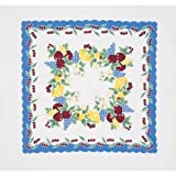 Vintage Cherries Tablecloth Cotton with Blue Border