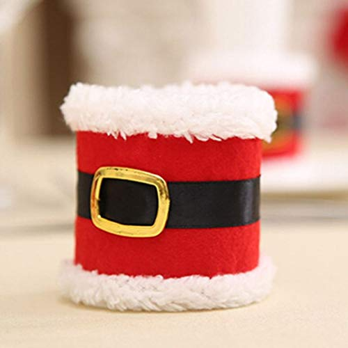 4 PCS Napkin Rings Christmas Belt Buckle Napkin Holder Party Banquet Dinner Table Decor Hotel Supplies (Napkin Holder Card Place Ring)
