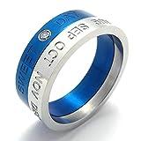 Daesar Stainless Steel Rings Mens Womens Wedding Bands Silver Blue Rings