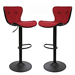Kitchen Modern Bar Stools, Adjustable Counter Height Stools with Backrest and Footrest by Halter, Red and Black, Set of 2 modern barstools
