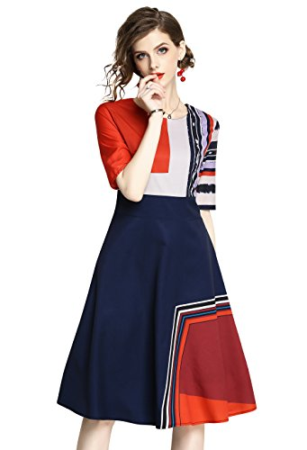 LAI MENG FIVE CATS Women's Summer 1/2 Sleeve Patchwork Print Casual A-line Midi Dress Knee Length