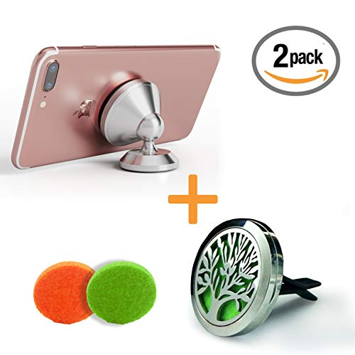 Magnetic Phone Holder for car, 360° adjustable dashboard and Cardiffuserventclip. A luxury gifts in Stainless steel. Iphone, Samsung, Huawei, Sony xperia, galaxy, tablets.