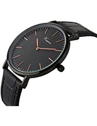 Men's Slim Leather Band Casual Analog Quartz Watch Black