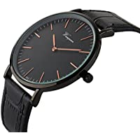Takyae Men's Slim Leather Band Casual Analog Quartz Watch Black