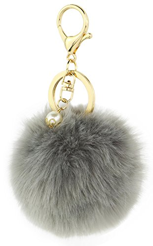 Key Chain Accessories for Women - Grey Faux Fur Ball Charm and Artificial Pearl with Key Ring