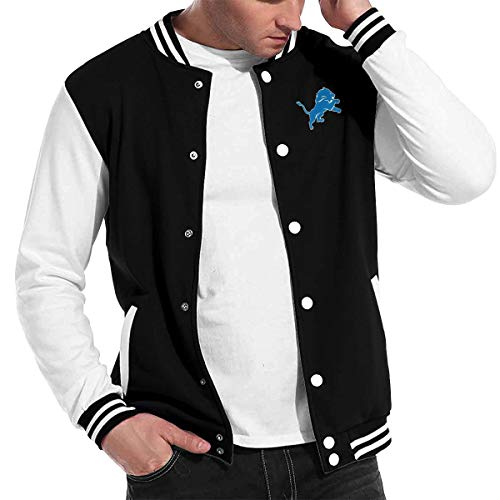 NOT Detroit Lions Football Team Youth Boys and Girls Baseball Uniform Jacket Sweater Sport Coat Black