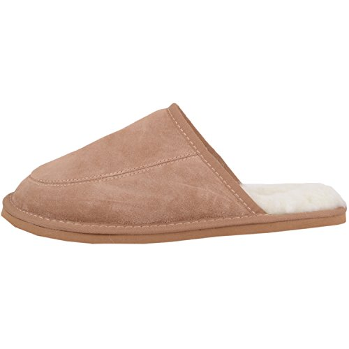 SNUGRUGS Unisex Adults' Suede with Wool Lining and Rubber Sole Slippers Brown (Camel) w2rVU