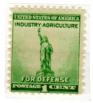 Postage Stamps United States One Single 1 Cent Bright Blue Green National Defense Issue