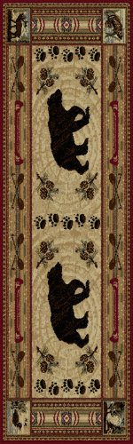 Free Universal Rugs Lodge Novelty 2 ft. 7 in. x 7 ft. 3 in. Runner , Brown