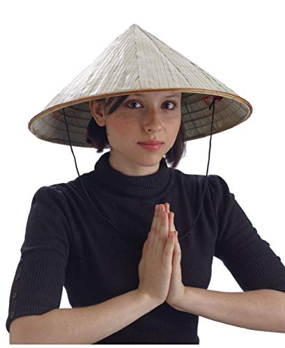 Adult Woven Bamboo Costume Accessory Coolie Conical Asian