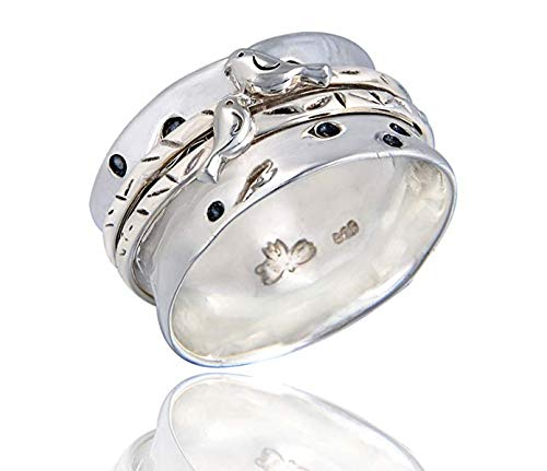Energy Stone Love Bird Sterling Silver Spinner Ring (Style# USA22) (11.5)
