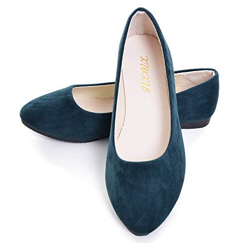Flats Leather Green - Dear Time Women Flat Shoes Comfortable Slip on Pointed Toe Ballet Flats (US 9, Green)