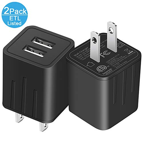 JAHMAI USB Wall Charger Universal Fast Dual Port Travel Mobile Phone AC Adapter Portable Block Power Plug Charging(ETL Listed) Compatible with Phone XS MAX/XR/X/8/7/Plus/6S/6/SE/5S/5C/Tablet(2 Pack) -