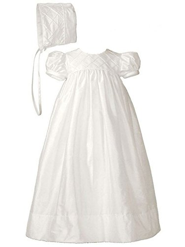 Little Things Mean A Lot Baby Girls White Silk Lattice Bodice Short Sleeve Hat Christening Gown 3-6M