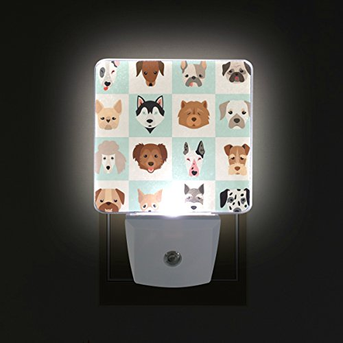 Dog Night Light - ALAZA LED Night Light with Smart Dusk to Dawn Sensor,Different Kinds of Dog Plug in Night Light Great for Bedroom Bathroom Hallway Stairways Or Any Dark Room