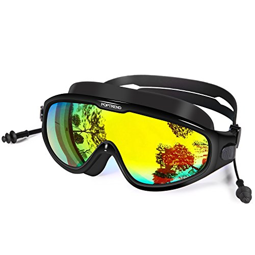 Poptrend Swimming Goggles, Professional UV Protection Anti-Fog No Leaking Colored Mirrored Lenses Goggles with Adjustable Head-Strap, HD Swimming Goggles, for Men,Women and Youth (Black)