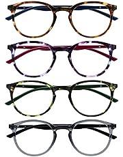 Opulize Met 4 Stuks Leesbril Groot Ronde Bruin Purper Groen Grijs Mannen Vrouwen Scharnieren Met Veer RRRR60-2567 +2,00