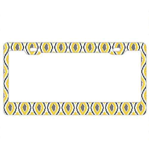Irma Boyle Oval and Double Ancient Zigzag Ikat Motifs Exotic Ethnic Japanese Culture Aluminum Car Metal License Plate Frames for Car Plate Tag 12