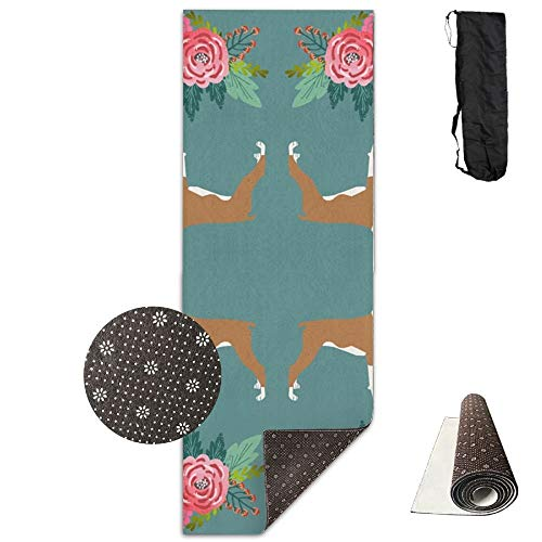 Boxer with Flowers,Florals, Pet Dog Print,Yoga Towel Exercise Mat Non-Slip High Density Waterproof Yoga Mats Fitness
