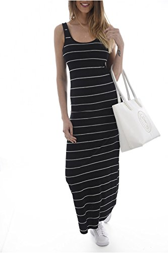 Femme Onlabbie Dress Only Noir Robe Stripe SL Oneck Noos Long 8wxOqdxF