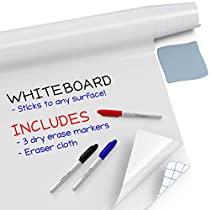 "Kassa Dry Erase Board Sticker - 18 x 78"" (6.5 Feet) - 3 Dry-Erase Board Markers Included - Transparent Adhesive White Board for Refrigerator, Desk, Office - Glass Dry Erase Board Alternative"