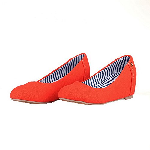 Odomolor Women's Pull-On Round-Toe Kitten-Heels Fabric Solid Pumps-Shoes, Orange, 38