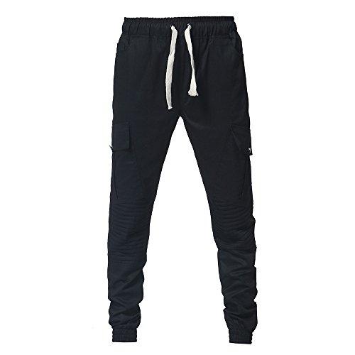 Pantalon Occasionnels D'hommes De Cordon Survêtement Mode Noir Pantalons Cravate Sport Ceintures Lâches xTXRvqT