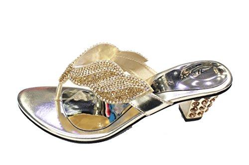 W & W Mujeres Señoras Noche Tacón Sandalias de moda comodidad sandalias diamante boda Party Zapatos Tamaño 4–10(Reena) dorado