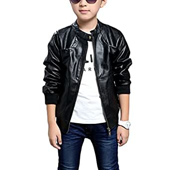 Chinaface Boy's Trendy Stand-Collar PU Leather Spring Moto Jacket Black X-Large, Tag Size 150