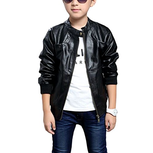 Chinaface Boy's Trendy Stand-Collar PU Leather Spring Moto Jacket Black, 7/8T]()