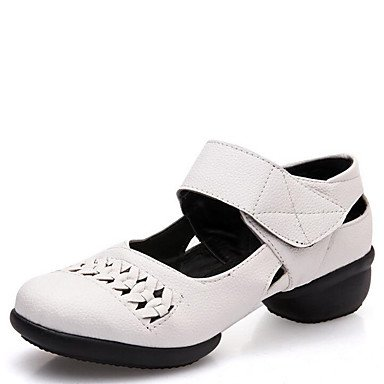 Sapatos Couro Vermelho Vermelho Uk3 Respirável Cn34 De Mulheres Sapatilhas 35 Preto Branco De Salto Xiamuo Baixo Dança Ue Us5 De 4x74nr