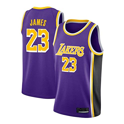 YDD Kid Boy Mens Jersey - NBA Lakers 23# James Embroidered Mesh Basketball Swingman Jersey Summer Sports Basketball Jersey, Costume Athletic Apparel Clothing Stitched,blueM(65~75kg)
