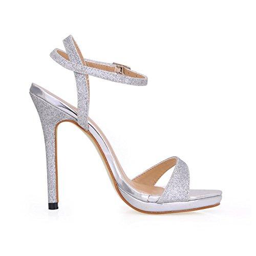 Escarpins Femmes Robe Glittle Talons Sandales Sm00601 12cm Multiples À De De Chaussures Couleurs Stiletto Simple D'argent 5F5Y1qrn4