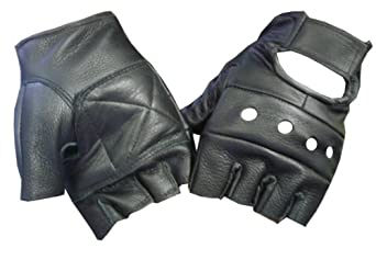 Black Leather Fingerless Biker Glove
