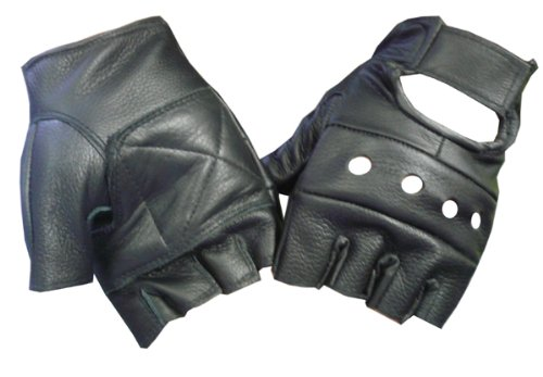 Motorcyle Biker Fingerless Leather Glove (M)]()
