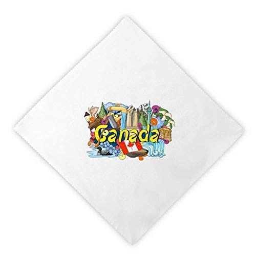 DIYthinker Rocky Mountains CN Tower Maple Canada Dinner Napkins Lunch White Reusable Cloth 2pcs
