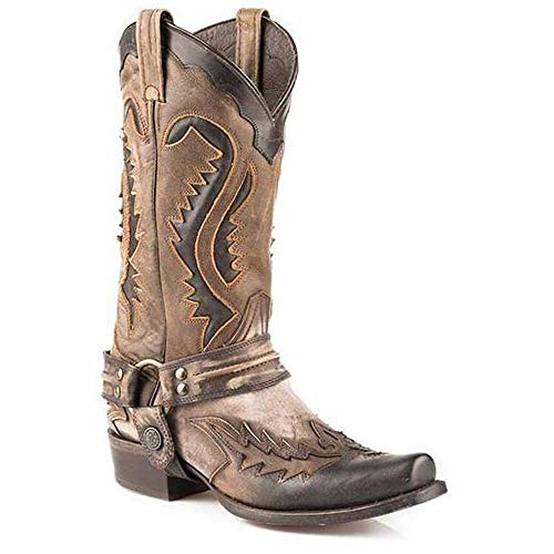 Men's Stetson Outlaw Boots Square Rocker Toe Handcrafted Black