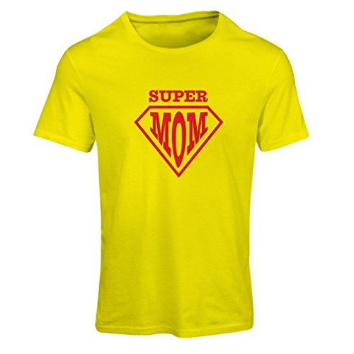 lepni.me T Shirts For Women Super Mom - For Wife Gifts - The Best Presents For Women (XX-Large Yellow Multi Color)