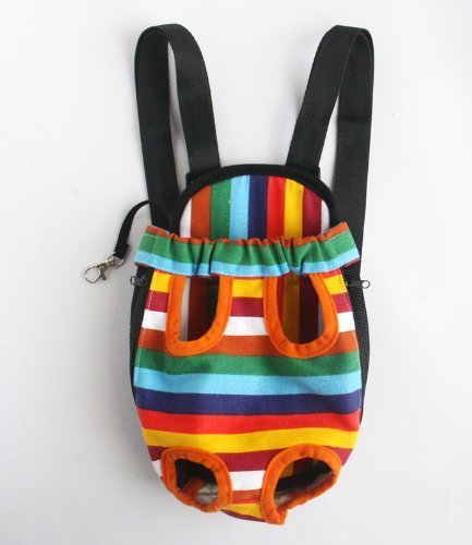 #4 Colorful Cotton Canvas Puppy Pet Dog Carrier Front Backpack Net Bag Multi-Size Assorted Assortment Pattern Choice Small Water & Wood