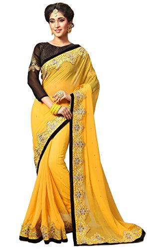 Nivah Fashion Women's Georgette Embroidery Work With Diamond's Material Saree K733(Yellow)