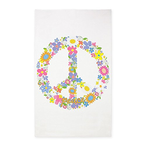 3' x 5' Area Rug Floral Peace Symbol Sign by Royal Lion