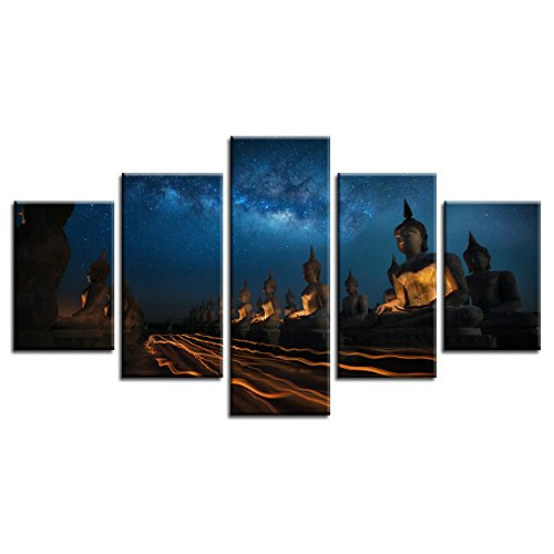 CrmArt - 5 Panels Framed Night Time-lapse Starry Sky Statue Milky Way Giclee Canvas Prints Wall Art Landscape Pictures Photo Paintings for Home Decorations Modern Artwork - 20' Buddha Statue