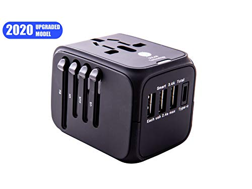 Universal Power Adapter,International Travel Adapter Worldwide All in One Solan Technology Travel Adapter with 3 USB+1 TYPE C Charging Ports for USA,UK,AUS and European Power Adapter,200+ Countries (Best Hair Straighteners 2019 Uk)