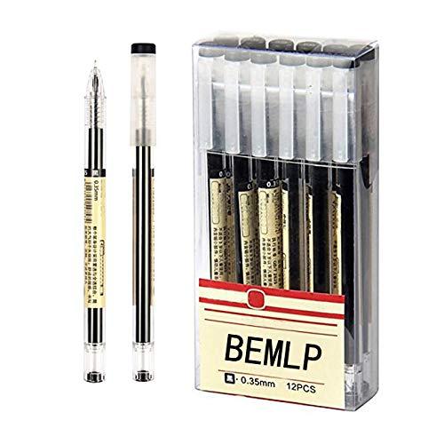 Gel Pen 0.35mm Black Blue Ink Pen Maker Pen School Office student Exam Writing Stationery Supply 12 Pcs/Set (Black)