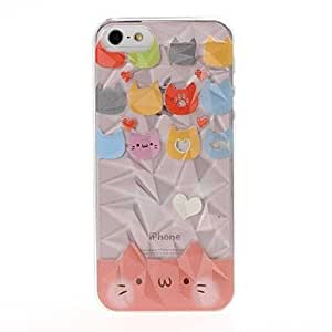 DUR Cute Cat Pattern Diamond Effect Surface Plastic Hard Case for iPhone 5/5S