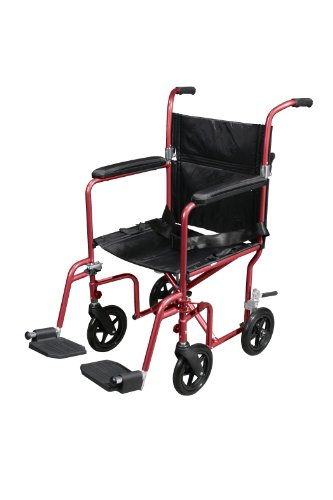 (Drive Medical Flyweight Lightweight Transport Wheelchair with Removable Wheels, Red)