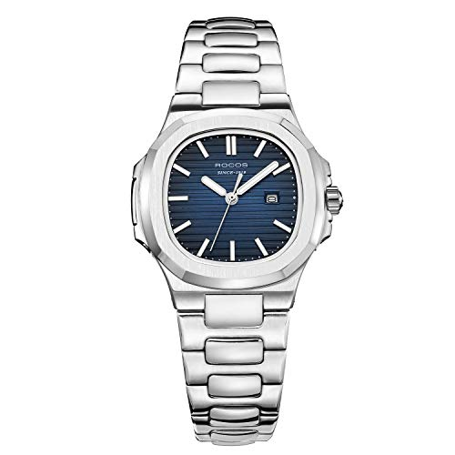 (Women's Wrist Watch ROCOS Japanese CITZEN Quartz Watch with Bule Dial Square Watch for Women Ladies Crystal Analog Watches Luxury Classic Elegant Gift #R0139L)