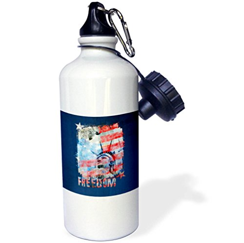 3dRose Andrea Haase Patriotic Art - Lady Liberty American Flag Freedom Art - 21 oz Sports Water Bottle (wb_282630_1) by 3dRose